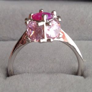 Unique Pink Opal/Pink Topaz Ring